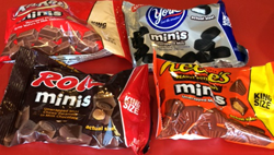 Mini Bags: Kit Kat, York Peppermint Patties, Rolo, Reese's Peanut Cups